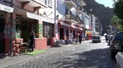 4k Ribeira Brava shopping street morning scene Madeira Stock Footage