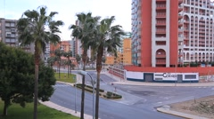 Spain. City Cullera. Panoramic views of the street, the building of hotels, sway Stock Footage