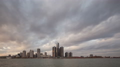 4K Time lapse wide angle Detroit Skyline sunset - stock footage