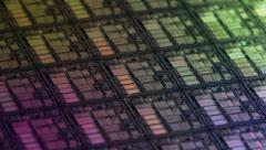 Processor Wafer Macro View Loop Rotation 4k Stock Footage
