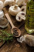 Bio garlic, spices and wild mushrooms from the home garden Stock Photos