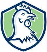 Chicken Hen Head Side Shield Cartoon Piirros
