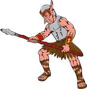 Orc Warrior Thrusting Spear Cartoon - stock illustration