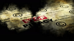 Stop piracy grunge concept Stock Footage