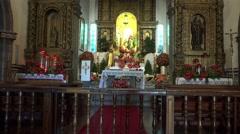 4k Inside Sao Bento church Ribeira Brava Madeira tilt up Stock Footage