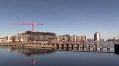 The sluice gates and weir system in the South Harbour of Copenhagen Stock Footage