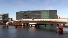 The cyclist bridge Bryggebroen over the port of Copenhagen Stock Footage