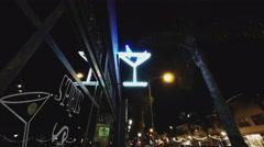 Trendy Bar Tavern Pub With Neon Martini Glass- Night Stock Footage