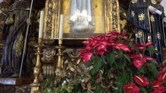 4k Sao Bento church Ribeira Brava closeup tilt altar figures - stock footage
