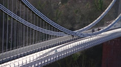 Traffic Crossing Clifton Suspension Bridge, Bristol - High Angle Stock Footage