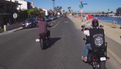 Motorcycle Riders In Belmont Shore- Long Beach CA Stock Footage