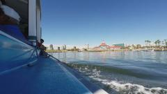 View From Tour Boat Returning To Long Beach Rainbow Harbor - stock footage