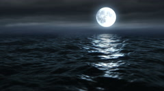 Moon Over The Ocean 4K 25fps Stock Footage