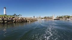 Wake Of Tour Boat Leaving Rainbow Harbor- Long Beach CA - stock footage