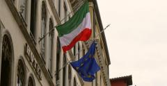 Italian, EU flags. Italy, European Union, Europe flag waving together - stock footage