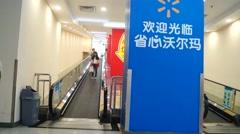 Shenzhen, China: Elevator WAL-MART supermarket Stock Footage