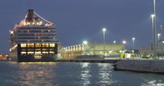Cruise ship liner boat at night Arkistovideo