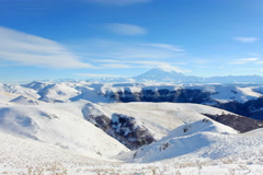 6K. Movement of the clouds on the mountains Elbrus, Northern Caucasus, Russia.  Stock Footage