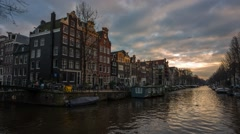 Amsterdam, Netherlands - Sunset Time Lapse At a Canal Stock Footage