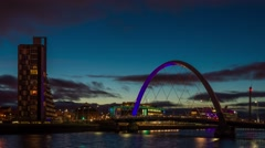 Stock Video Footage of Clyde Arc, Glasgow - Blue Hour Sunset Time Lapse