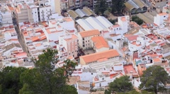 Spain. Panoramic view from the mountain to the town of Cullera. Visible rooftops Stock Footage