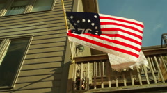 1776 flag on house US USA american 2 Stock Footage