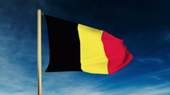 Belgium flag slider style. Waving in the win with cloud background animation Stock Footage