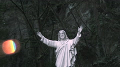 Jesus Statue Wide to Close Up Stock Footage