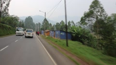 Pedestrians and Beautiful Rwanda Landscape Pass - stock footage