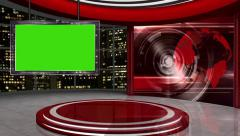 News TV Studio Set 58-Virtual Green Screen Background Loop Stock Footage