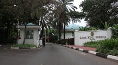 Gated Entrance to Lake Kivu Serena Hotel Stock Footage