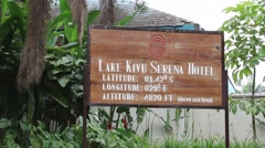 Sign Showing Lake Kivu Serena Hotel, Gisenyi, Rwanda  Stock Footage