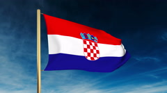 Croatia flag slider style. Waving in the wind with cloud background animation - stock footage
