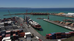 Container ship unloading at Napier docks, New Zealand Stock Footage