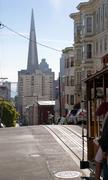 Trolley Travels Rails Street Downtown San Francisco California Stock Photos