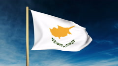 Cyprus flag slider style. Waving in the wind with cloud background animation Stock Footage