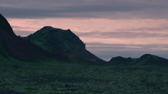 Iceland, Mountains Volcano Black Sand Landscape - Sunset. Stock Footage