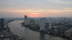 Bangkok City River High View Stock Footage
