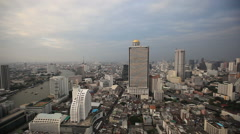 Bangkok City Evening High View Stock Footage