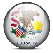 Map on flag button of USA Illinois State - stock illustration