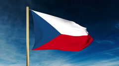 Czech Republic flag slider style. Waving in the wind with cloud background Stock Footage
