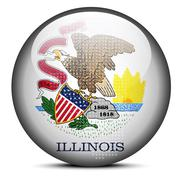 Map with Dot Pattern on flag button of USA Illinois State - stock illustration