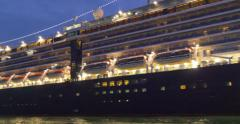 Night cruise ship liner cruiseship lights light lighting illumination close up - stock footage