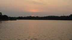 Sunset At Putrajaya Lake Near Steel Mosque Stock Footage