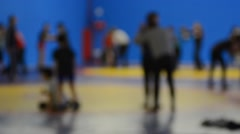 Wrestlers training defocused Stock Footage