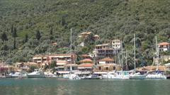Mediterranean port view, sea, ships, boats and yachts. Ionian Islands landscape. Stock Footage