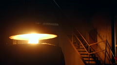 Stream of flame on the steelworks factory Stock Footage