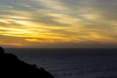 Golden Sunset at deep ocean attraction on Great Ocean Road - stock photo
