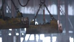 Detail view of industrial machine for steel blocks transportation Stock Footage