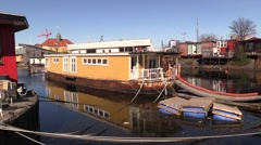 Houseboats in Copenhagen South Harbour Stock Footage